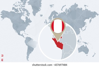 Abstract blue world map with magnified Peru. Peru flag and map. Vector Illustration.
