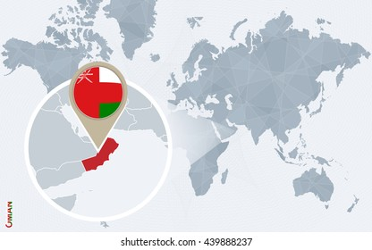 abstract blue world map with magnified oman oman flag and map vector illustration