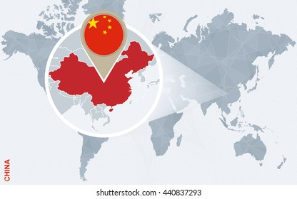 Abstract blue world map with magnified China. China flag and map. Vector Illustration.
