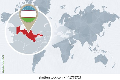 Abstract blue world map with magnified Uzbekistan. Uzbekistan flag and map. Vector Illustration.