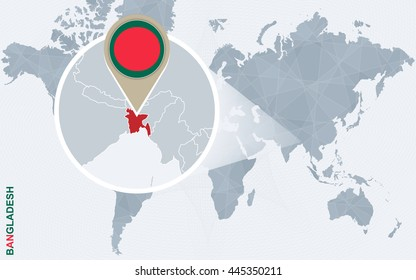 Bangladesh map images stock photos vectors shutterstock abstract blue world map with magnified bangladesh flag and map vector illustration gumiabroncs Choice Image
