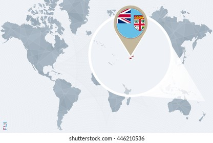 Abstract blue world map with magnified Fiji. Vector Illustration.
