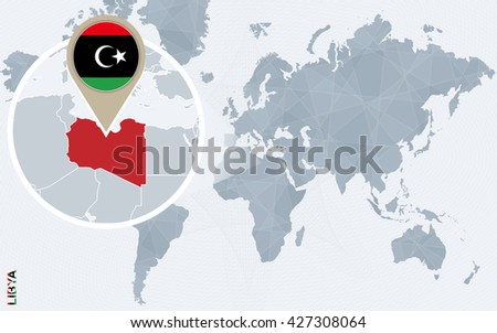 Abstract Blue World Map Magnified Libya Stock Vector Royalty Free