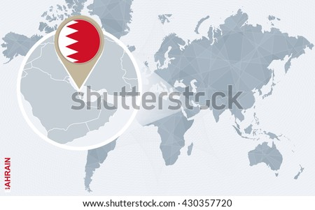 Bahrain On A World Map.Abstract Blue World Map Magnified Bahrain Stock Vector Royalty Free