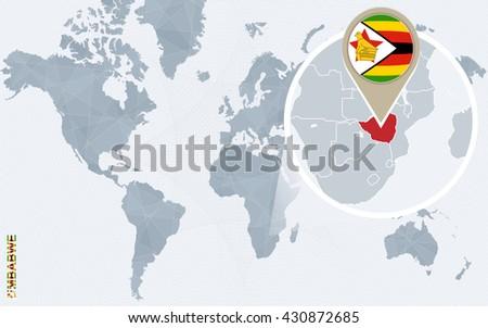 Abstract Blue World Map Magnified Zimbabwe Stock Vector Royalty