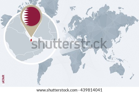 Abstract Blue World Map Magnified Qatar Stock Vector Royalty Free