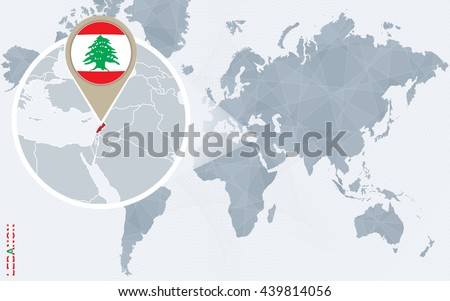 Abstract Blue World Map Magnified Lebanon Stock Vector Royalty Free