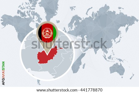 Abstract Blue World Map Magnified Afghanistan Stock Vector (Royalty ...