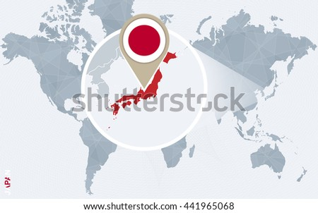 Abstract Blue World Map Magnified Japan Stock Vector (Royalty Free ...