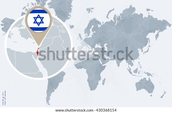 Abstract Blue World Map Magnified Israel Stock Vector ...