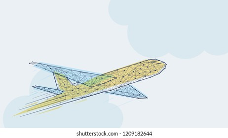 Abstract blue and yellow airplane template vector illustration. Low polygonal wire frame structure business travel concept design. Clouds on background