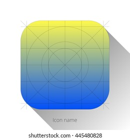 Abstract blue-yellow app icon, blank button template with flat designed shadow and gradient background for internet sites, web user interfaces (UI) and applications (apps). Vector illustration.