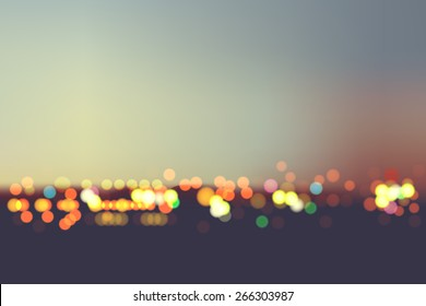 Abstract blur bokeh in night city background