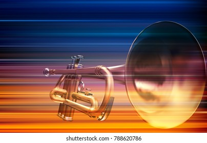 abstract blur music background with trumpet