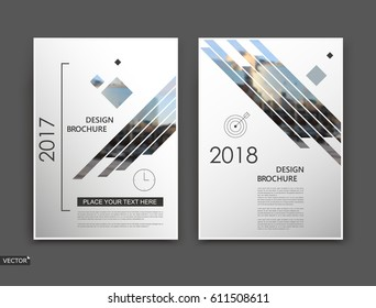 Abstract blurb. White brochure cover design. Fancy info banner frame. Ad flyer text font. Title sheet model set. Modern vector front page. Creative city view texture. Rhombus figures image icon