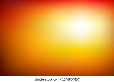 Abstract blurred background in vibrant red, orange and yellow tones. Colorful sunset scene gradient. Vector illustration