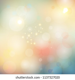 Abstract blurred bokeh lights soft color background. Vector illustration