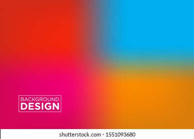 Abstract blurred gradient mesh background in bright four colors.