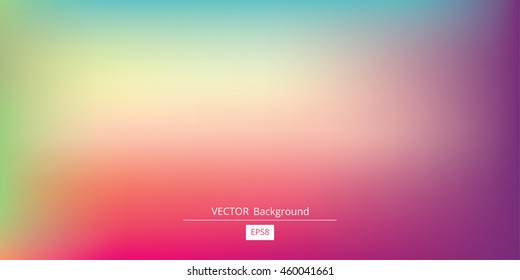 Abstract blurred gradient mesh background in bright rainbow colors. Colorful smooth banner template. Easy editable soft colored vector illustration in EPS8 without transparency.