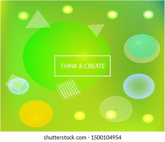 Abstract blurred mesh background. Minimal backdrop with colored bubbles and white shapes. Vector illustration layout. Green celebration template for your graphic design, user interface or app.