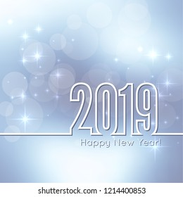Abstract blurred vector background. Happy New Year 2019 theme. Round banner with rays.