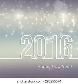 Abstract blurred vector background with sparkle stars. Happy New Year 2016.