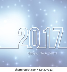 Abstract blurred vector background with sparkle stars. Happy New Year 2017.