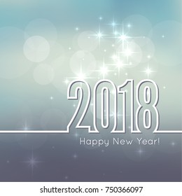 Abstract blurred vector background with sparkle stars. Happy New Year 2018.