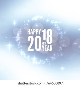 Abstract blurred vector background with sparkle stars. Happy New Year 2018 theme.