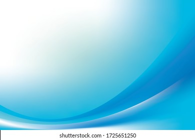 Abstract Blurry Smooth Blue White Wave Gradient Background Design, Soft Blue White Wave Background Template Vector