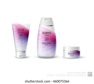 Abstract body care cosmetic brand concept. Tube cream, shampoo packaging. Realistic vector identity set template in pink tones for beauty, medicine, healthcare. Design layout. Chrome metal line.