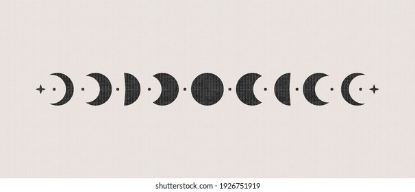 Abstract boho moon phases. Mystic contemporary shapes, magic poster decor. Vector illustration