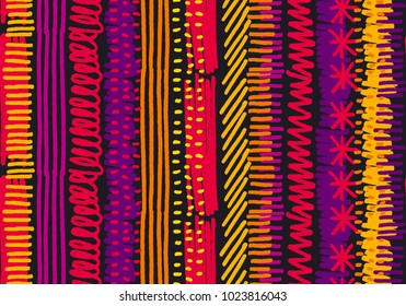 Abstract boho stripe seamless pattern. Geometric reputable motif in fun bright tropical summer color. For fabric, background, wrapping paper, wallpaper, decor. Stock vector illustration.