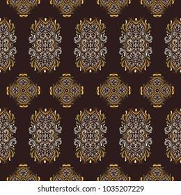 Abstract boho wallpaper. kalamkari sari style.Can be used for textile, greeting card, coloring book, phone case print.