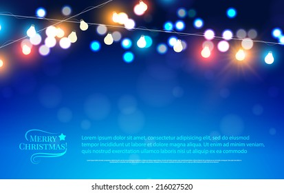 Abstract bokeh background. Christmas lights. Vector illustration