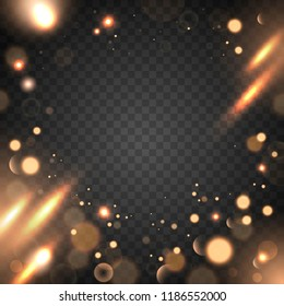 Abstract bokeh effect on a transparent background. Blurred light elements