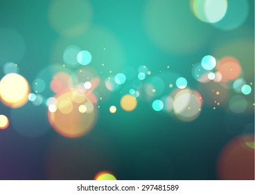 Abstract Bokeh Light Vintage Background, Vector Illustration