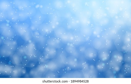 Abstract bokeh lights with soft blue light background illustration, backdrop.