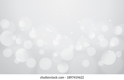 Abstract bokeh lights with soft gray light background illustration, backdrop.