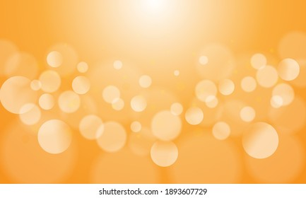 Abstract bokeh lights with soft yellow light background illustration, backdrop.