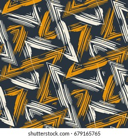 Abstract bold zigzag brush strokes textured background. Seamless pattern.