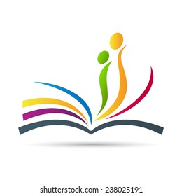 Abstract book vector design represents publishing work, education logo, signs and symbols.