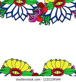 Abstract border with large flowers and leaves pattern on white background