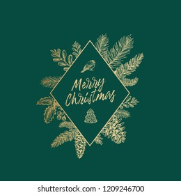 Abstract Botanical Christmas Card with Rhombus Frame Banner and Modern Typography. golden Glitter with Green Background Layout. Isolated.
