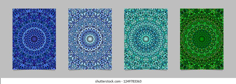 Abstract botanical garden mandala pattern flyer background template set - symmetrical vector stationery designs