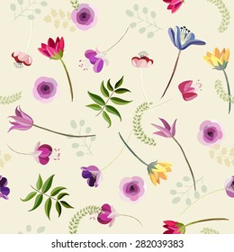 Abstract botanical seamless background, flowers and plants