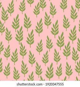 Abstract botany seamless pattern with little green leaf branches elements. Pink background. Decorative backdrop for fabric design, textile print, wrapping, cover. Vector illustration.