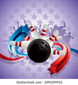 Abstract bowling background with a bowling ball and bowling pins, blue and red arrows and fans in the background