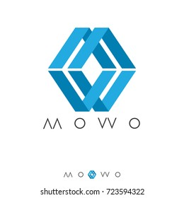 abstract box cube logo. initial letter MW in flat style Template for software, apps, product, services brand. vector illustration