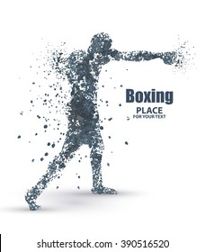 Abstract boxing from dot, particle divergent composition, vector illustration